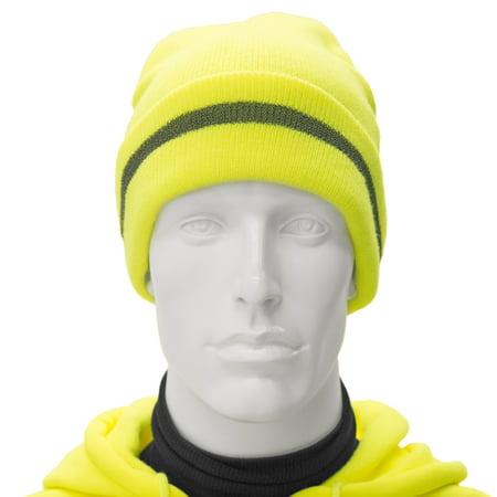 JORESTECH® High Visibility Fluorescent Yellow Reflective Knit Beanie Hat (S- BEANIE-1Y) - Walmart.com ed10cc0f2e4