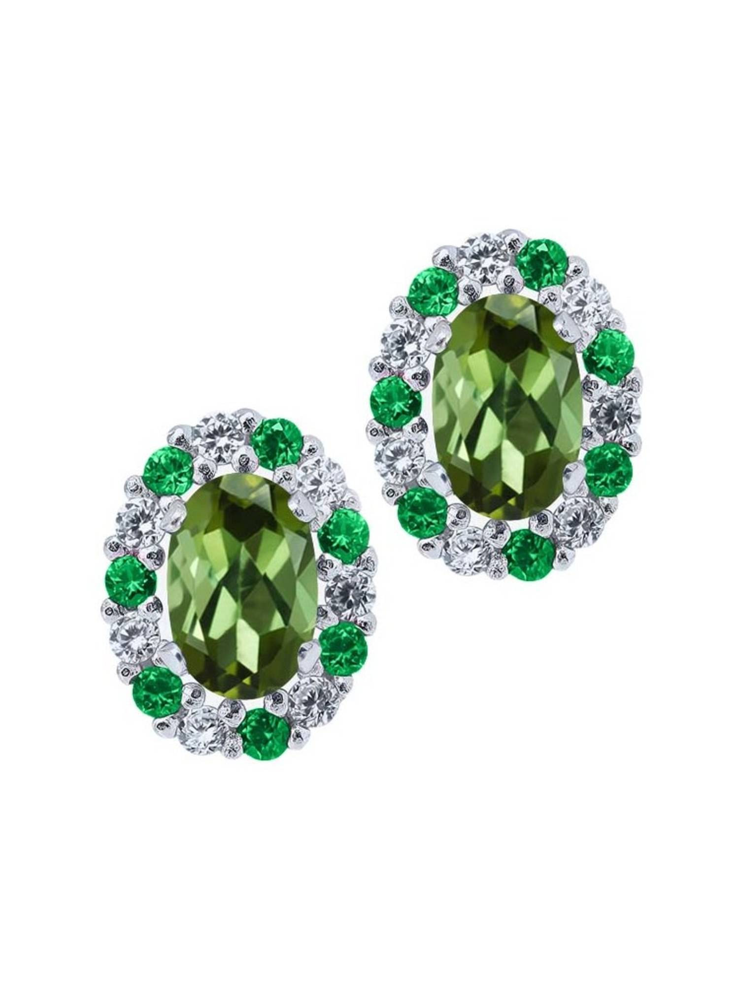 1.16 Ct Oval Green Tourmaline 925 Sterling Silver Earrings with Jackets by