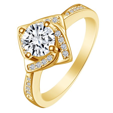 Round Shape White Cubic Zirconia 14k Yellow Gold Over Sterling Silver Windmill Engagement Ring