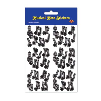 Beistle 54016-BK Musical Note Stickers - Black Pack of 12
