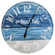 Evergreen Enterprises On Beach Time 30 in. Round Wooden Wall Clock