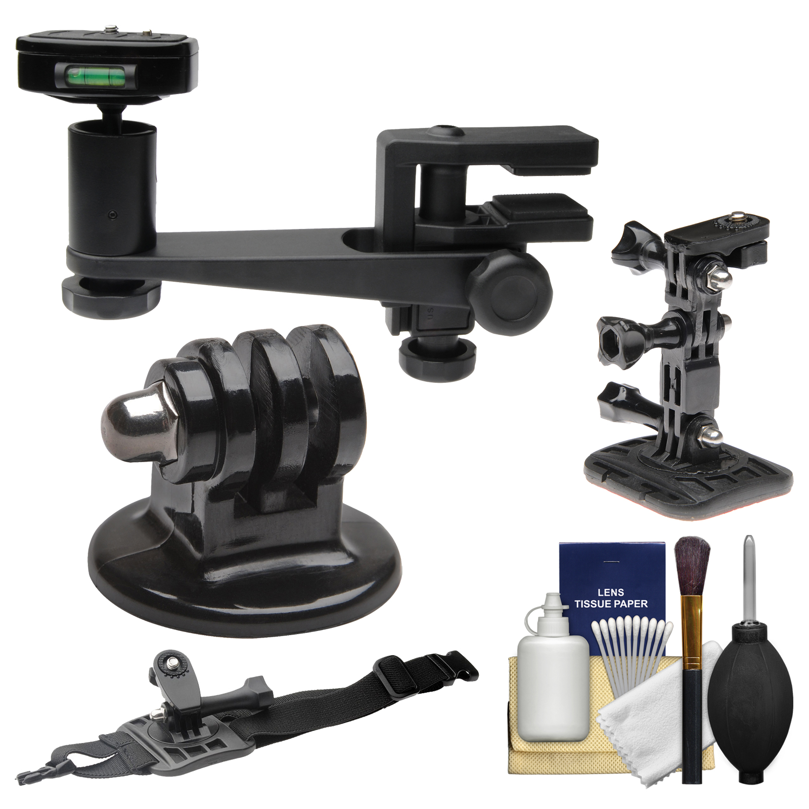 Makaw Video Perch Camera Mount Clamp with Ballhead & Quick Release + Tripod Adapter + Curved Helmet & Arm Mounts Kit for GoPro Hero 3 4 Action Camera