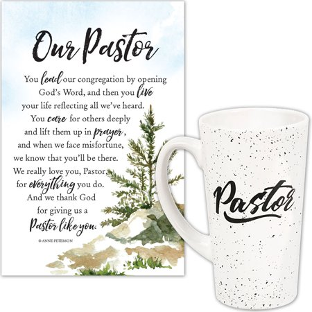 - (Set) Our Pastor Appreciation Plaque & Pastor Quote 16 Oz. Ceramic Latte Mug