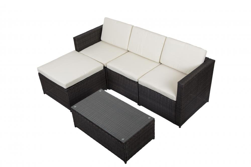 5 PCS Outdoor Patio Sofa Set Sectional Furniture PE Wicker Rattan Deck Couch by