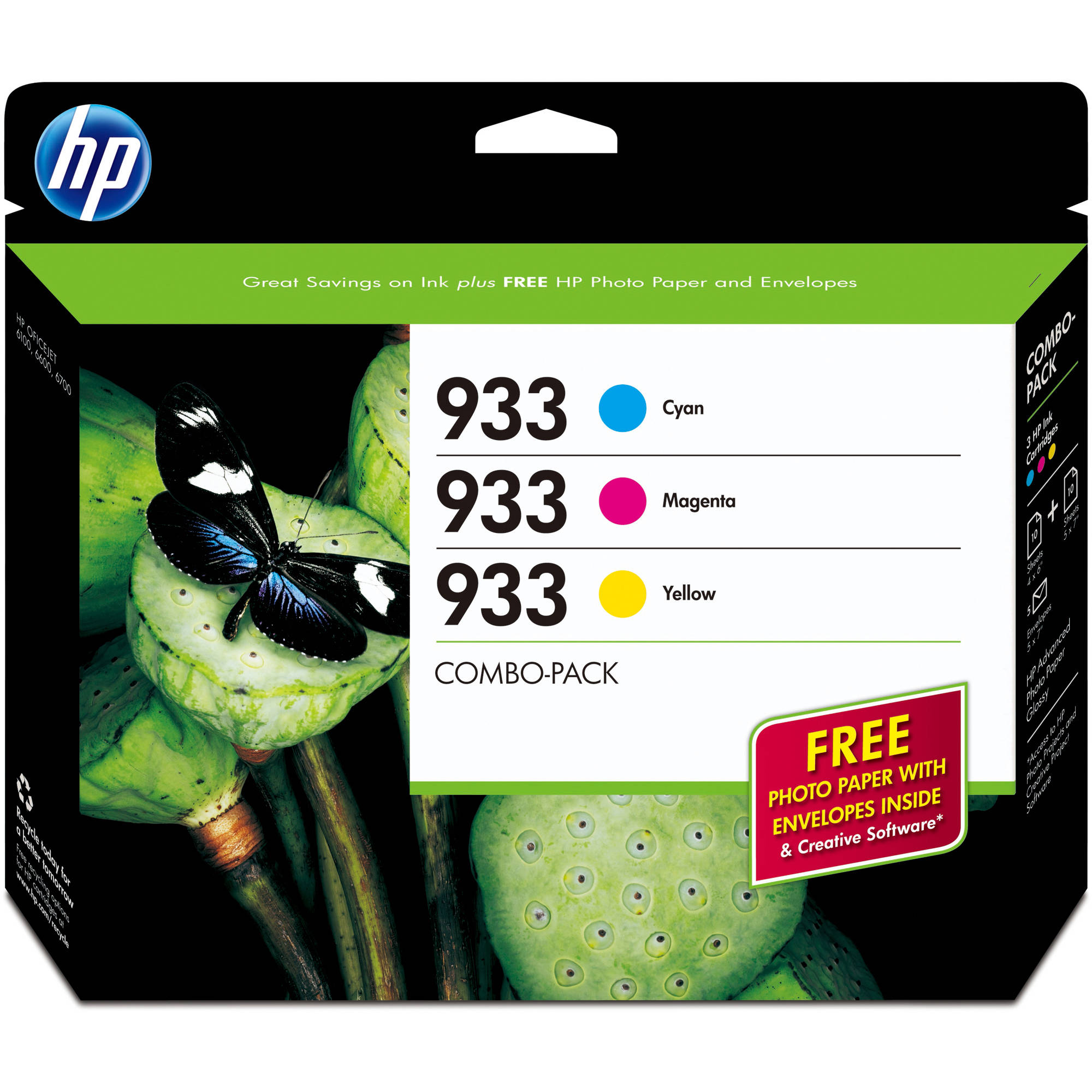 HP 933 Cyan/Magenta/Yellow Original Ink Cartridges w/Photo Paper, 3 pack (B3B32FN)