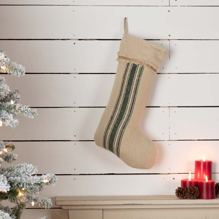 Antique Creme Green White Farmhouse Christmas Decor Vintage Burlap Stripe Fabric Loop Cotton Stenciled Rope Cotton Burlap Striped Stocking](Mesh Christmas Stockings)