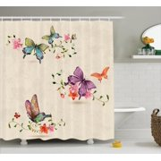 Apartment Decor Shower Curtain Set Butterfly Collection On Vintage Background Spiritual Wings Moth Transformation Symbol