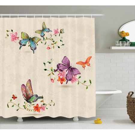 Apartment Decor Shower Curtain Set, Butterfly Collection On Vintage Background Spiritual Wings Moth Transformation Symbol Print, Bathroom Accessories, 69W X 70L Inches, By Ambesonne](Butterfly Bathroom)