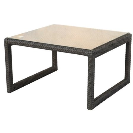 Magnificent Darlee Vienna Wicker Glass Overlay Patio End Table In Espresso Beutiful Home Inspiration Xortanetmahrainfo