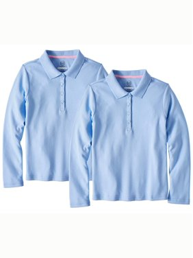 Product Image Girls School Uniform Long Sleeve Interlock Polo b61901113