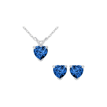 Gem And Harmony Created Dark Blue Shire Heart Earrings Pendant Necklace Set 2 0 Carat Ctw In Sterling Silver