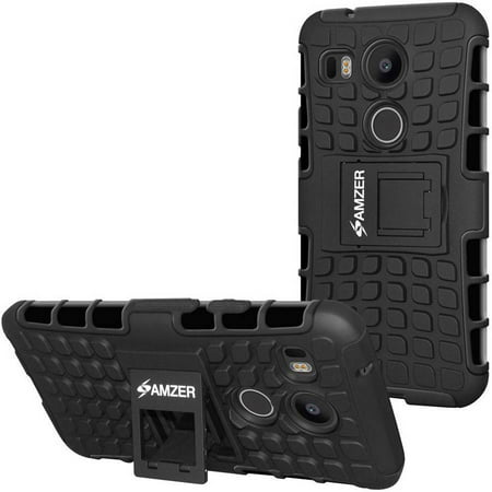 Amzer Hybrid Warrior Case with Kickstand for Google Nexus 5X, (Best Accessories For Nexus 5x)