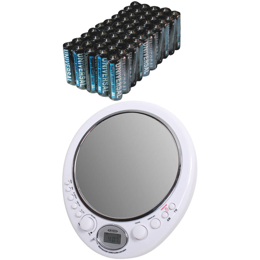Jensen JWM-150 AM/FM Alarm Clock Shower Radio with Mirror, Includes 50 AA Batteries
