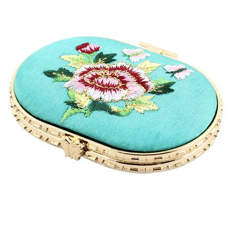 Oval Shaped Embroidery Flower Pattern Button Closure Makeup Mirror Green