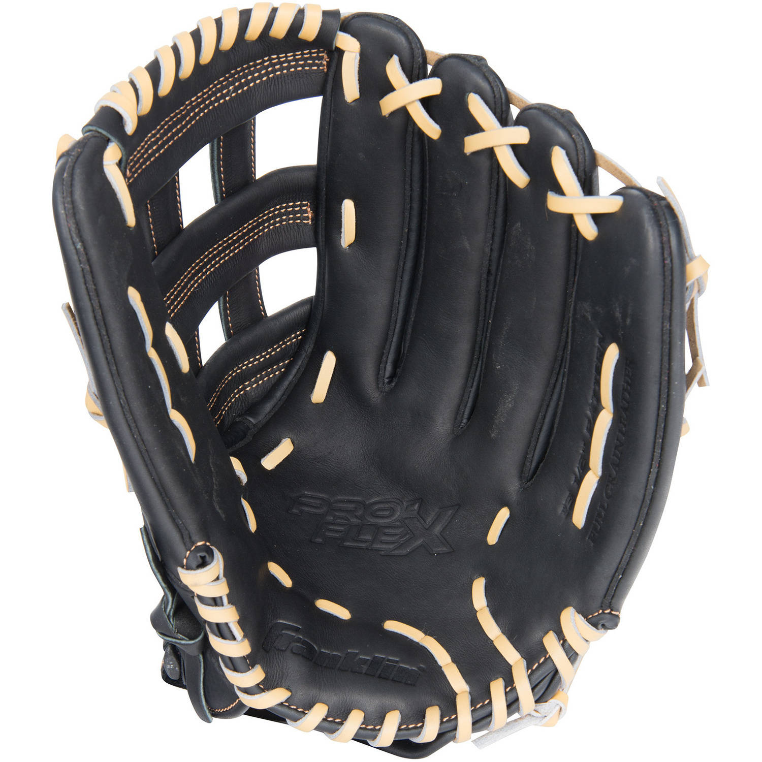 "Franklin Sports 13.5"" Pro Flex Hybrid Series Baseball Glove Left-Handed Thrower, Black/Camel"