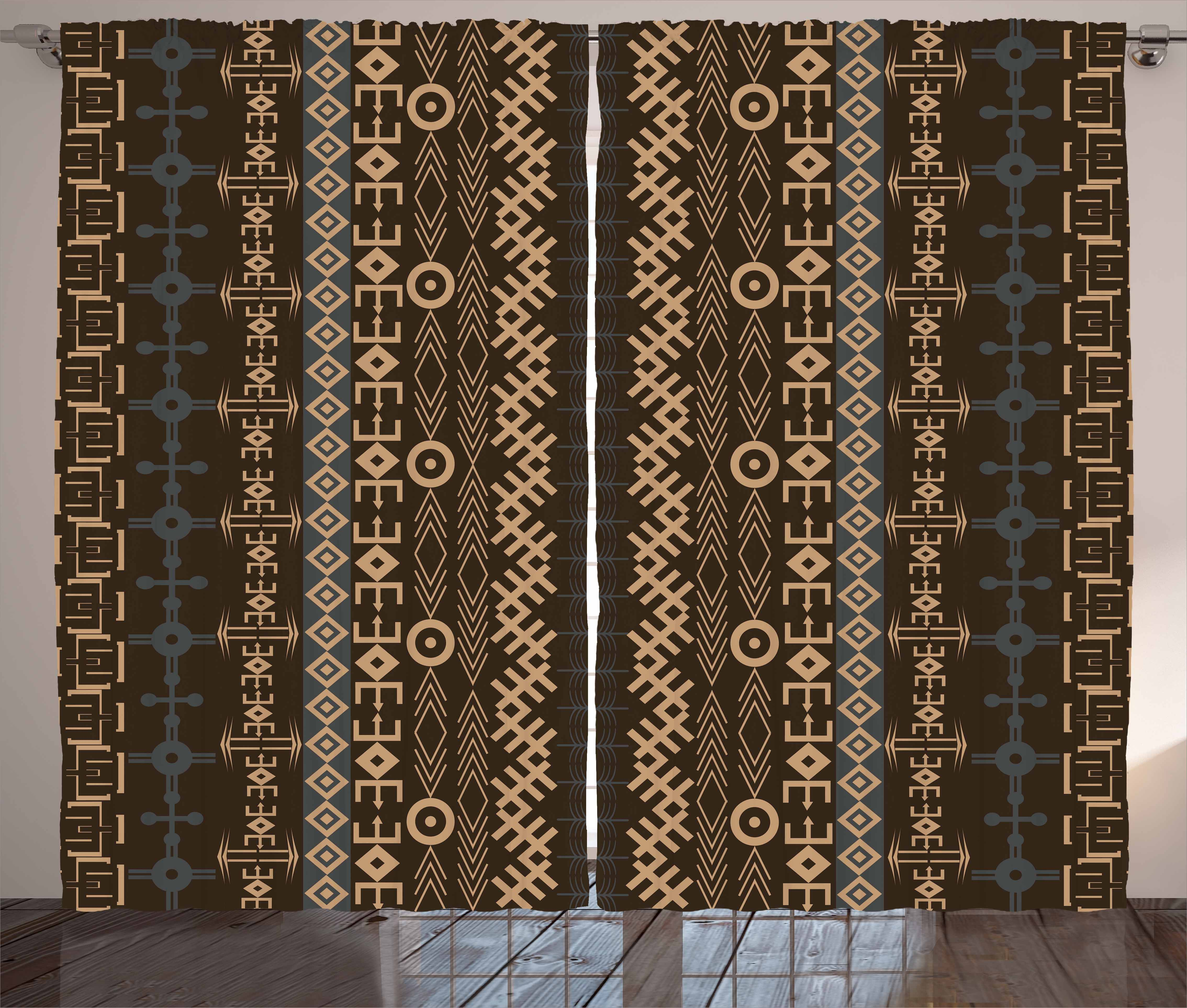 African Curtains 2 Panels Set, Traditional Ethnic Pattern