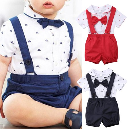 Newborn Infant Toddler Baby Boy Wedding Formal Suit Bowtie Gentleman Romper + Suspender Pants 2pcs Outfit Set