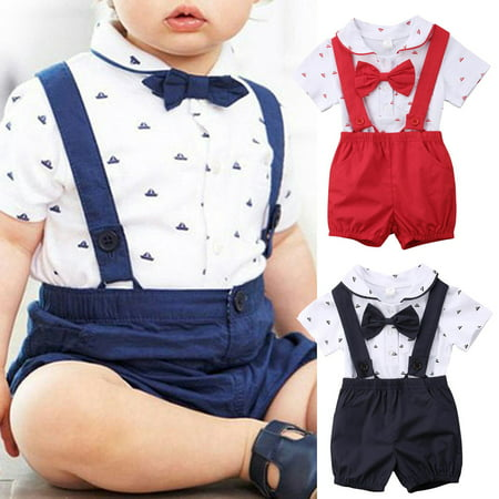 Newborn Infant Toddler Baby Boy Wedding Formal Suit Bowtie Gentleman Romper + Suspender Pants 2pcs Outfit Set (Boys One Piece Romper Outfit)