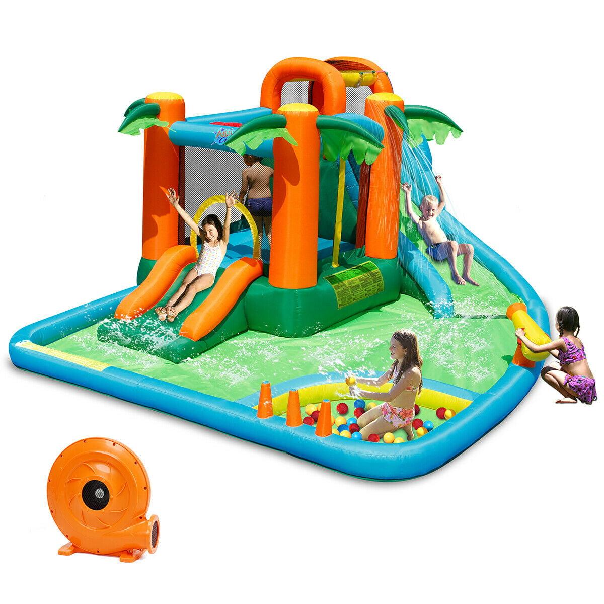 Picture of: Gymax Inflatable Bounce House Jump Bouncer Kids Water Park Splash Play Center W Blower Walmart Com Walmart Com
