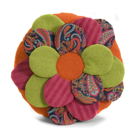 18 bright eclectic funky multi fabric 3d flower shaped - Fabric for throw pillows ...