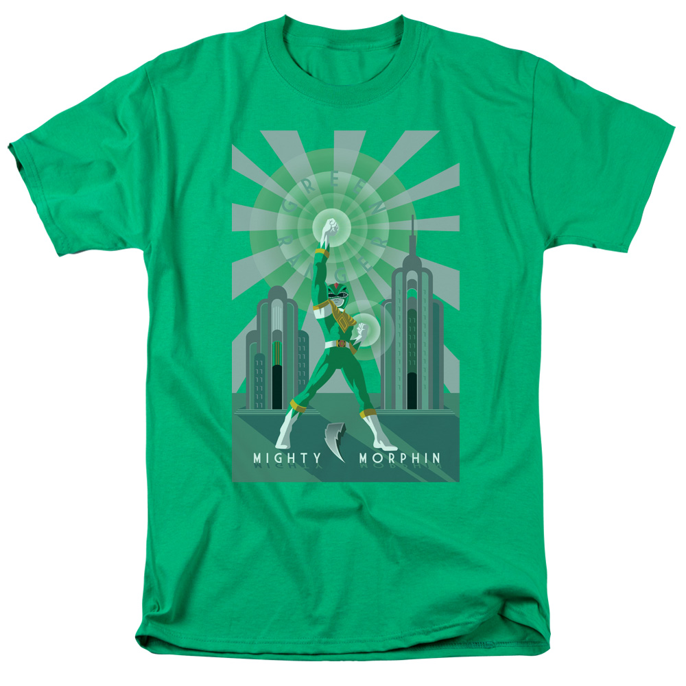 Power Rangers/Green Ranger Deco S/S Adult 18/1   Kelly Green     Pwr129