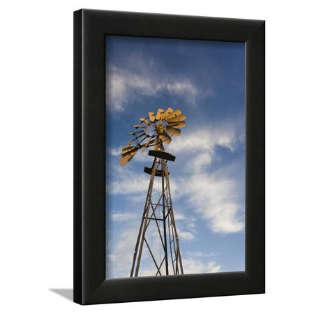 Vintage Farm Windmills at Sunset, Elk City, Oklahoma, USA Framed Print Wall Art By Walter Bibikow (Usa Windy City)