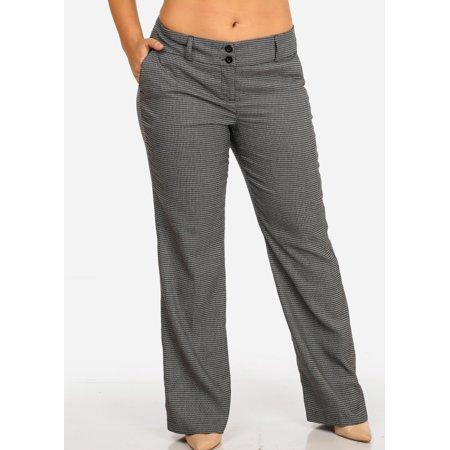 Womens Juniors Women\'s Plus Size Pattern Print Career Wear High Waisted  Dress Pants 10156R