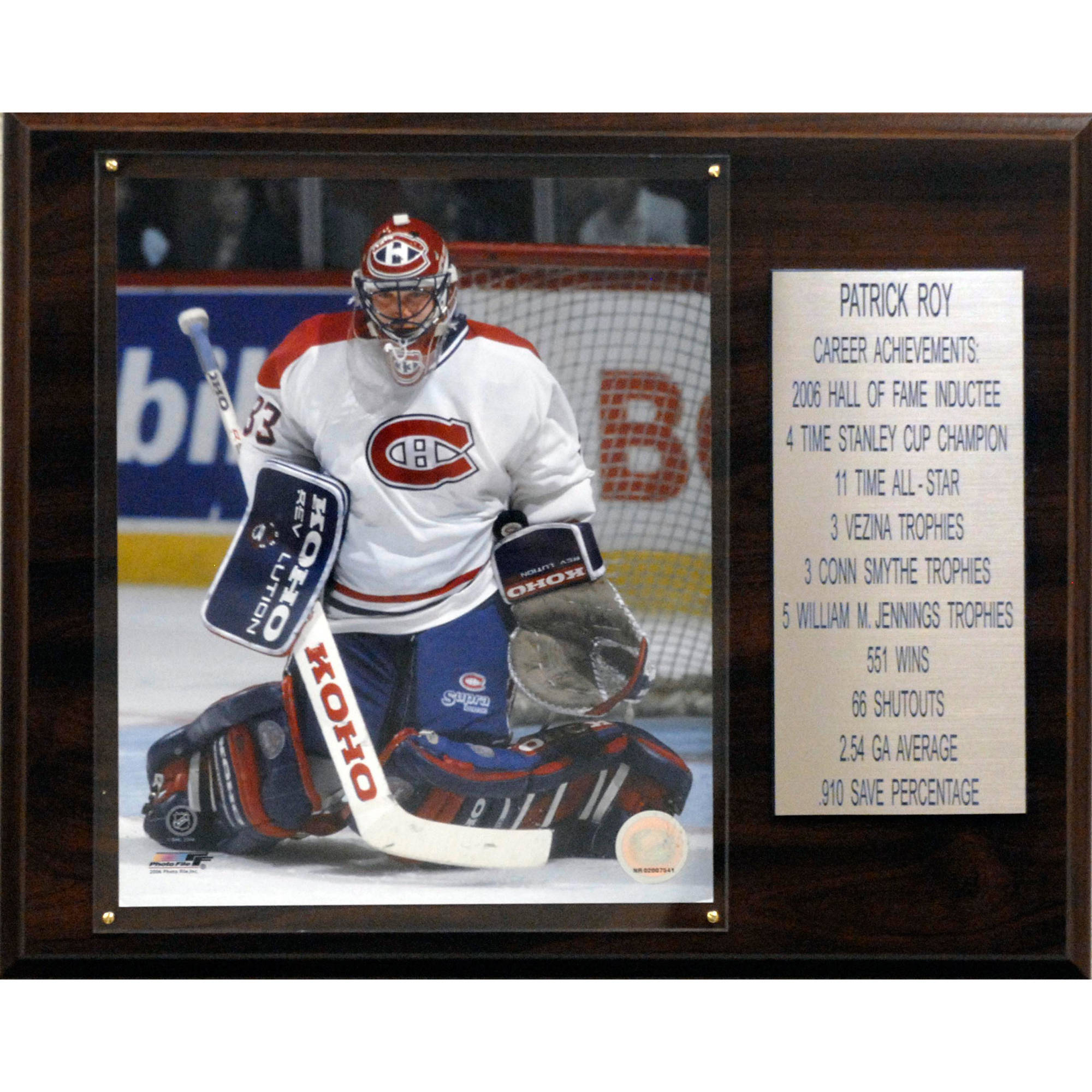 C&I Collectables NHL 12x15 Patrick Roy Montreal Canadiens Career Stat Plaque