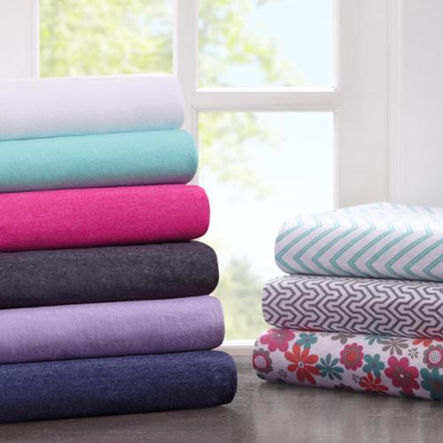 Intelligent Design Cotton Blend Jersey Knit Sheet Set Full-Pink