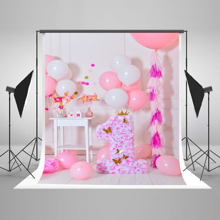 HelloDecor Polyster 5x7ft 1st Birthday Pink Photography Backdrop Girl Baby Pink and White Ballon Princess Photo Studio Background - Princess Background