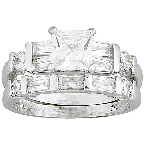 3 Carat T.G.W. Princess-Cut CZ Silver-Tone Bridal Set