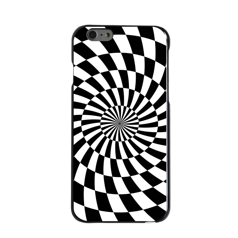"CUSTOM Black Hard Plastic Snap-On Case for Apple iPhone 6 PLUS / 6S PLUS (5.5"" Screen) - Black White Swirl Geometric"