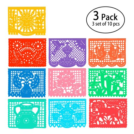 Mexican Banner - 22 FT Papel Picado Banners - 10 Color Panels Large Mexican Banners - Fiesta Party Supplies - 10 Unique Designs Mexican Banner Decorations 3 pack for Cinco de Mayo Party Decorations](Cinco De Mayo Table Decorations)