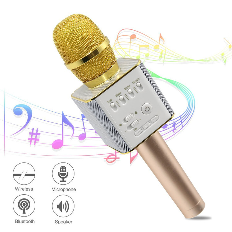 Q9 Protable Wireless Bluetooth Cordless Microphone for Singing karaoke microphone with 2600mAh Stereo Player 3-in-1 Bluetooth KTV Karaoke Machine for Apple Android Smartphone,Gold