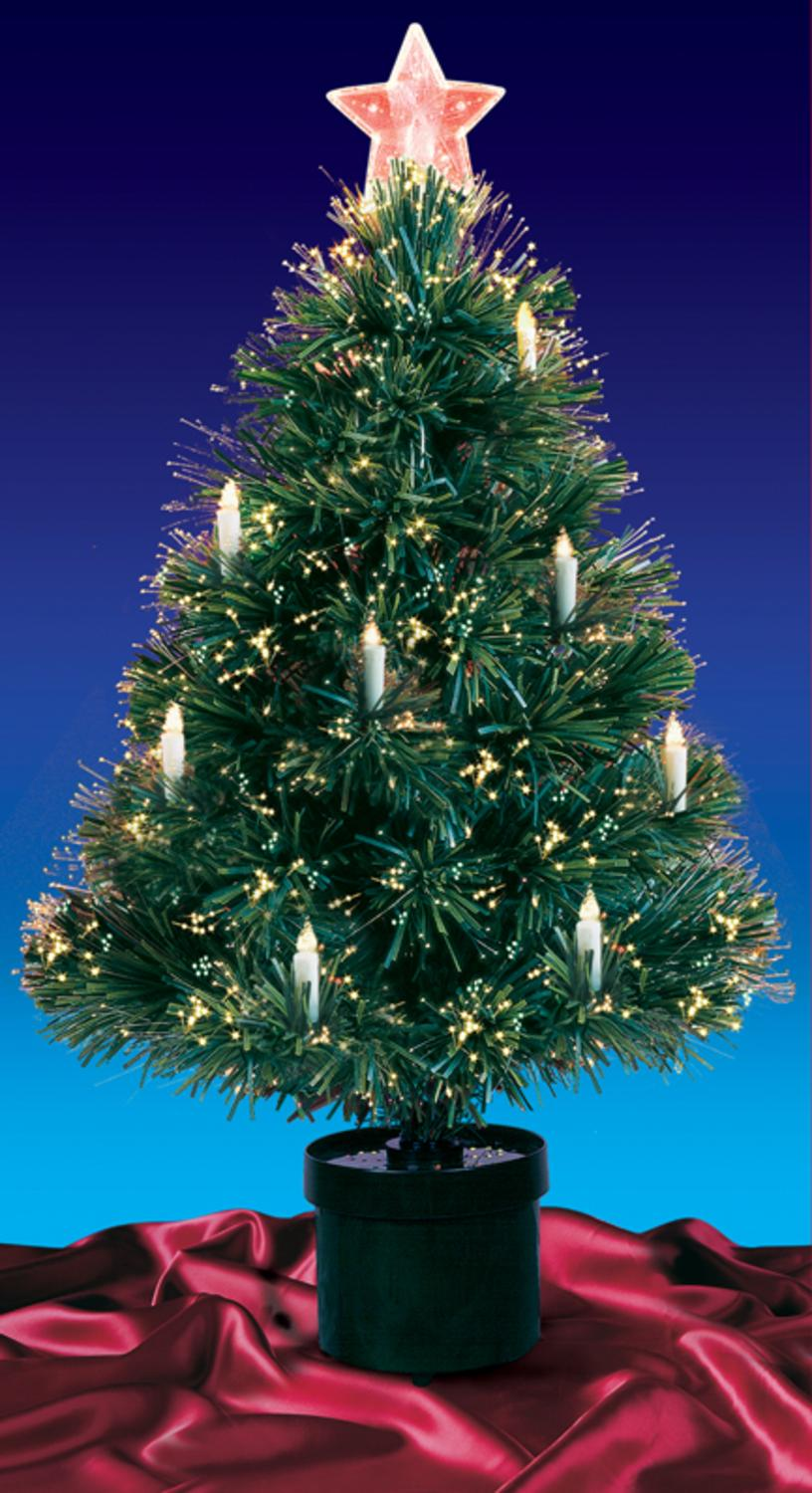 3' Pre-Lit Fiber Optic Artificial Christmas Tree with Candles ...
