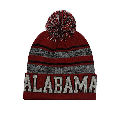 Alabama Men's Blended Stripe Winter Knit Pom Beanie Hat (Crimson/Gray) (Alabama Beanie Hat)