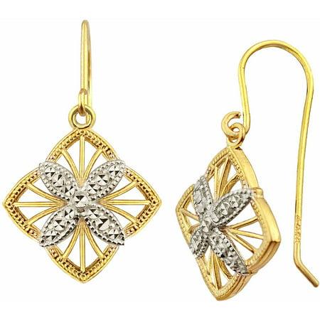 US GOLD 10kt Gold Vintage Diamond-Shaped Drop Earrings