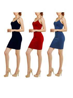 Product Image Women s 3-Pack Seamless Spaghetti Strap Bodycon Dress (Black 5070f59fc