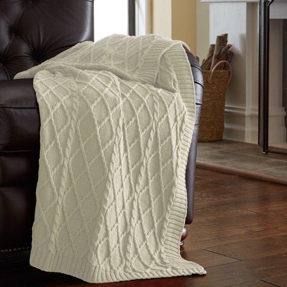 Amrapur Oversized Cable Diamond Knit Throw Blanket