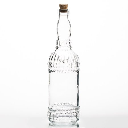 Richland Patterned Glass Bottle with Cork - Bottles With Corks