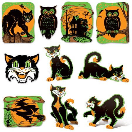 Vintage Halloween Fluorescent Cutouts - Halloween Wood Cutouts