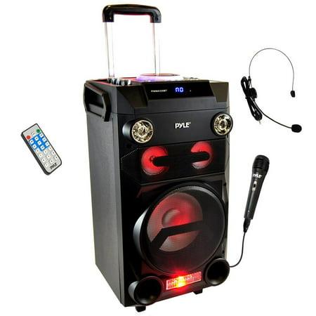 Portable Active Loudspeaker (Portable BT Karaoke Speaker System - PA Loudspeaker with Flashing DJ Lights, Built-in Battery, FM Radio, MP3/USB/Micro SD)