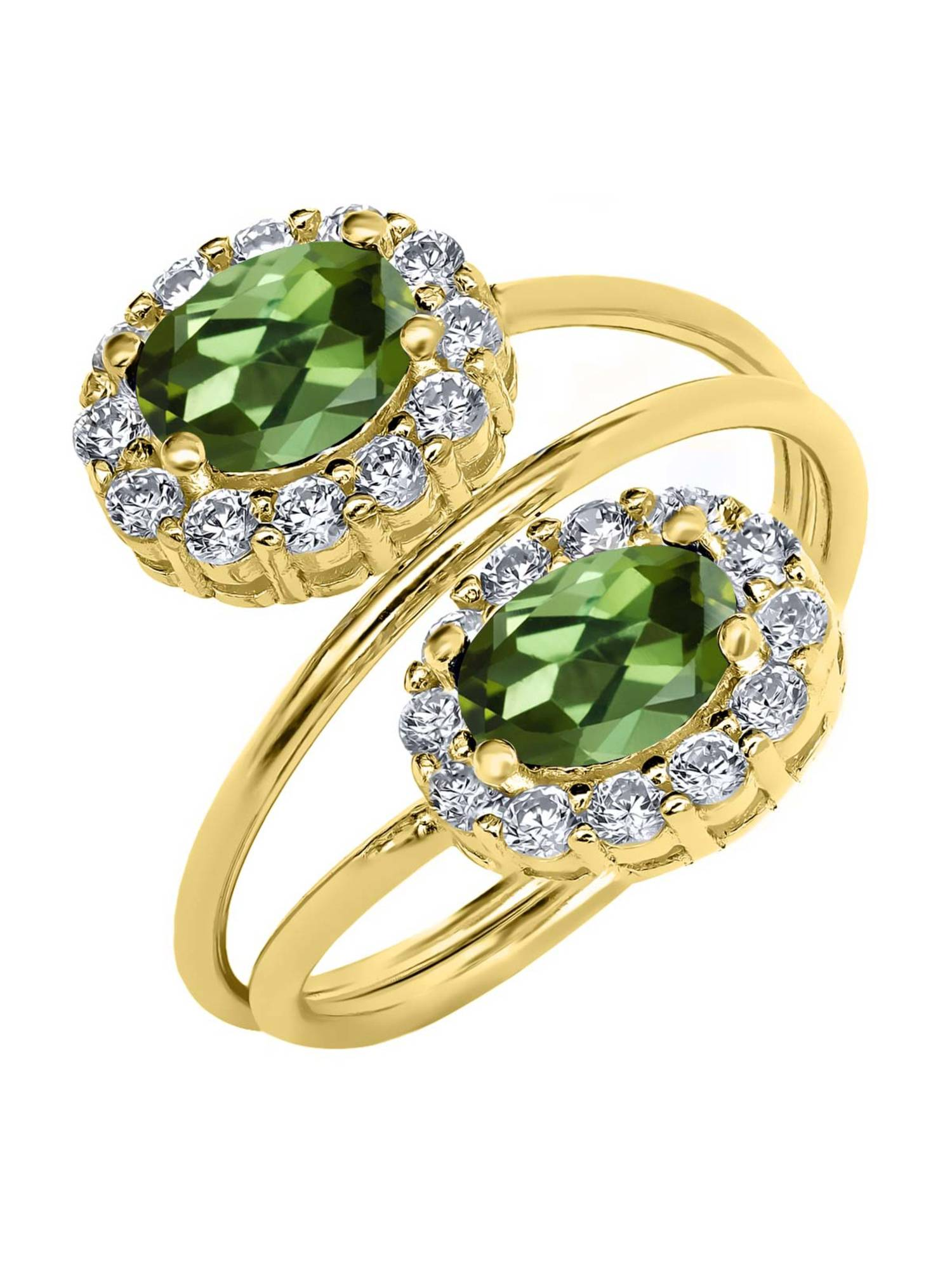 2.48 Ct Oval Green Tourmaline 18K Yellow Gold Plated Silver Ring by