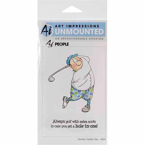 Art Impressions People Cling Rubber Stamp-Gordon Golfer Set