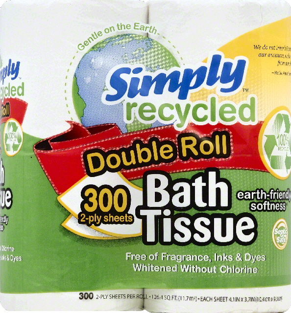 Simply Recycled Bath Tissue, Double Roll, 2-Ply