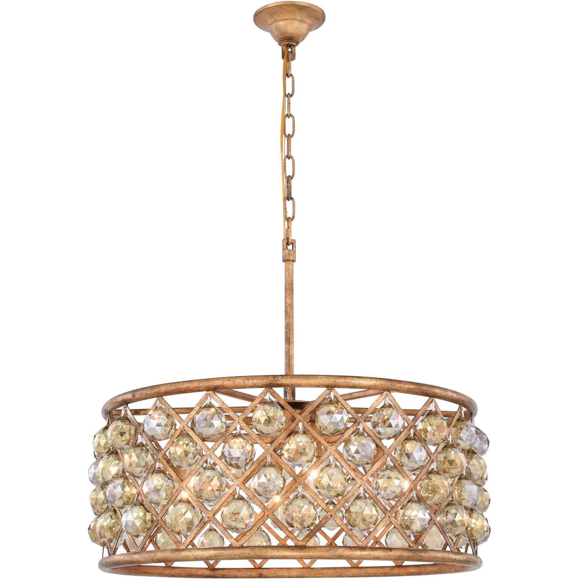 "Madison Collection Pendant Lamp D:25"" H:10.5"" Lt:6 Golden Iron Finish Royal Cut Golden Teak (Smoky)"