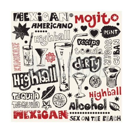Cocktail Doodles, Hand Drawn Design Elements Print Wall Art By Andriy Zholudyev