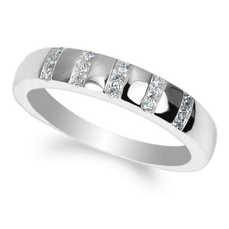JamesJenny Ladies 10K White Gold Round CZ Embedded Pretty Wedding Band Ring Size 4-10 - Cheap Pretty Rings