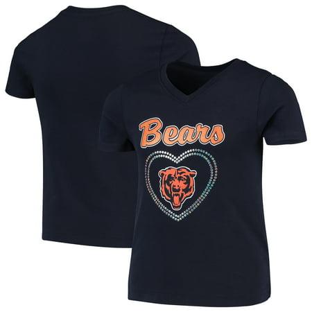 Chicago Bears Girls Youth Heart Logo V-Neck T-Shirt - Navy Chicago Bears Stone
