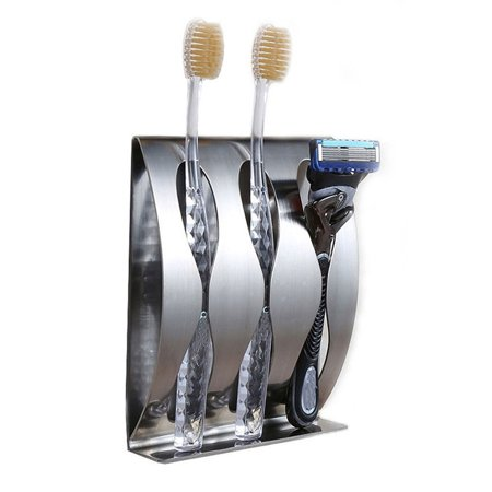 Stainless Steel Toothpaste Dispenser 2/3 Position Toothbrush Holder Wall Mount